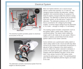 Electrical System The electrical system provides power to electrical accessories in the car. The alternator converts mechanical power from the engine to electrical power. Most non-hybrid vehicles use a closed circuit electric system that operates on 12 volts DC. The charging system includes the alternator, voltage regulator, and connected wiring. Its purpose is to keep the battery charged while the vehicle is being operated. The alternator is driven by the accessory drive belt system; as the belt turns.